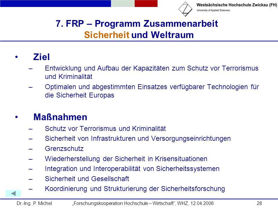 Dr.-Ing. P. Michel Forschungskooperation Hochschule – Wirtschaft, WHZ, 12.04.200628 7. FRP – Programm Zusammenarbeit Sicherheit und Weltraum Ziel –Ent