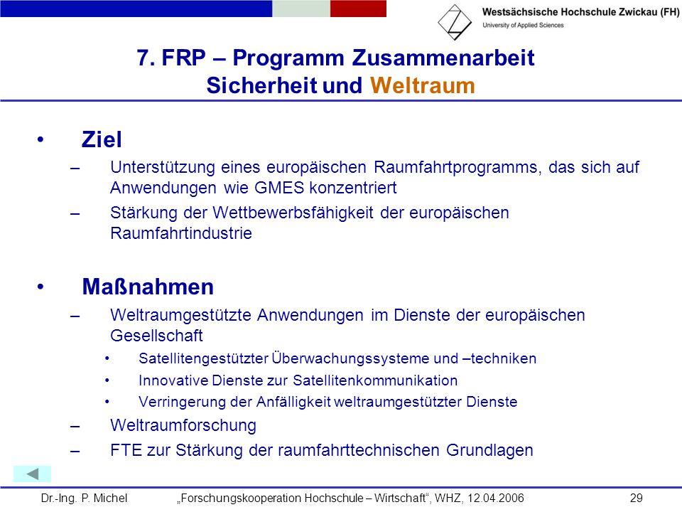 Dr.-Ing. P. Michel Forschungskooperation Hochschule – Wirtschaft, WHZ, 12.04.200629 7. FRP – Programm Zusammenarbeit Sicherheit und Weltraum Ziel –Unt