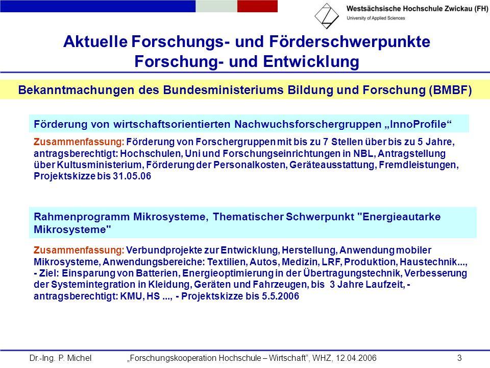 Dr.-Ing. P. Michel Forschungskooperation Hochschule – Wirtschaft, WHZ, 12.04.20063 Aktuelle Forschungs- und Förderschwerpunkte Forschung- und Entwickl