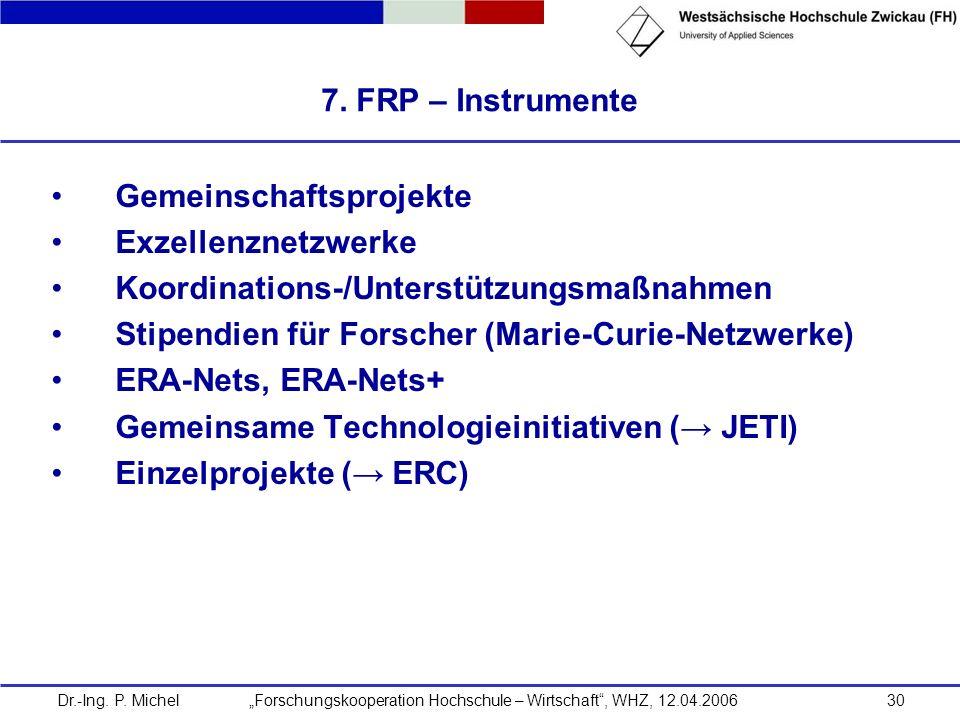 Dr.-Ing. P. Michel Forschungskooperation Hochschule – Wirtschaft, WHZ, 12.04.200630 7. FRP – Instrumente Gemeinschaftsprojekte Exzellenznetzwerke Koor
