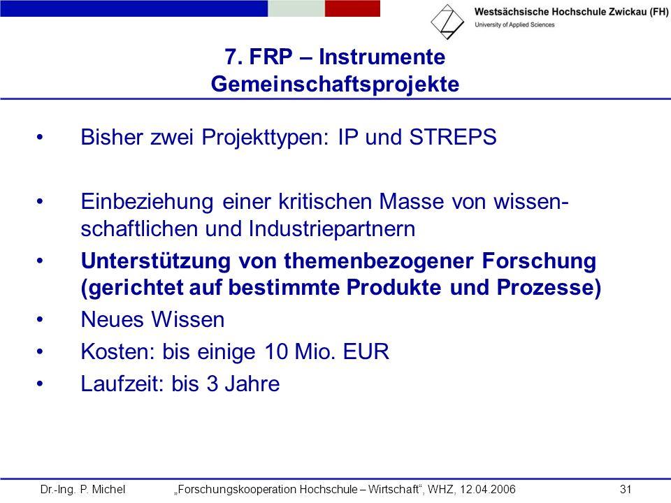Dr.-Ing. P. Michel Forschungskooperation Hochschule – Wirtschaft, WHZ, 12.04.200631 7. FRP – Instrumente Gemeinschaftsprojekte Bisher zwei Projekttype