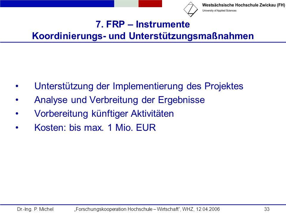 Dr.-Ing. P. Michel Forschungskooperation Hochschule – Wirtschaft, WHZ, 12.04.200633 7. FRP – Instrumente Koordinierungs- und Unterstützungsmaßnahmen U