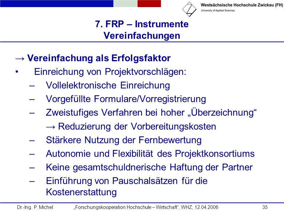 Dr.-Ing. P. Michel Forschungskooperation Hochschule – Wirtschaft, WHZ, 12.04.200635 7. FRP – Instrumente Vereinfachungen Vereinfachung als Erfolgsfakt