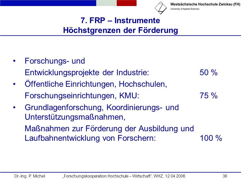Dr.-Ing. P. Michel Forschungskooperation Hochschule – Wirtschaft, WHZ, 12.04.200636 7. FRP – Instrumente Höchstgrenzen der Förderung Forschungs- und E