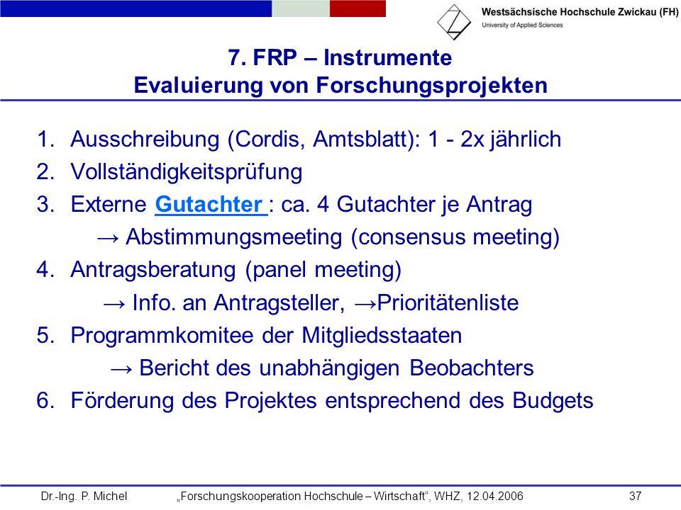 Dr.-Ing. P. Michel Forschungskooperation Hochschule – Wirtschaft, WHZ, 12.04.200637 7. FRP – Instrumente Evaluierung von Forschungsprojekten 1.Ausschr