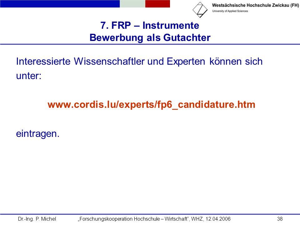 Dr.-Ing. P. Michel Forschungskooperation Hochschule – Wirtschaft, WHZ, 12.04.200638 7. FRP – Instrumente Bewerbung als Gutachter Interessierte Wissens