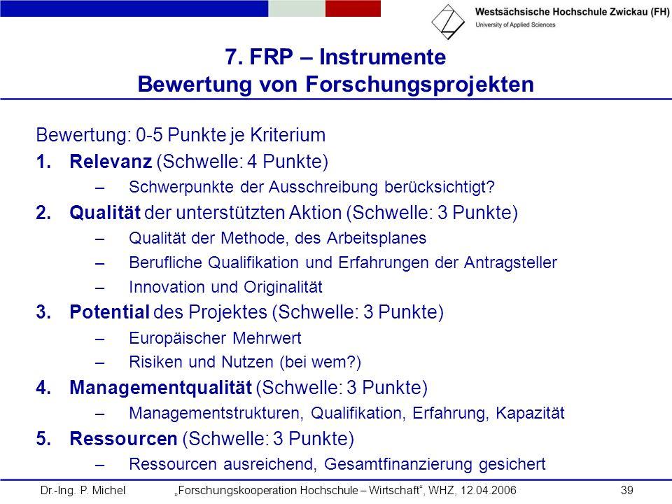 Dr.-Ing. P. Michel Forschungskooperation Hochschule – Wirtschaft, WHZ, 12.04.200639 7. FRP – Instrumente Bewertung von Forschungsprojekten Bewertung: