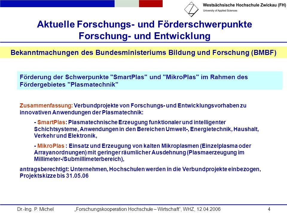 Dr.-Ing. P. Michel Forschungskooperation Hochschule – Wirtschaft, WHZ, 12.04.20064 Aktuelle Forschungs- und Förderschwerpunkte Forschung- und Entwickl