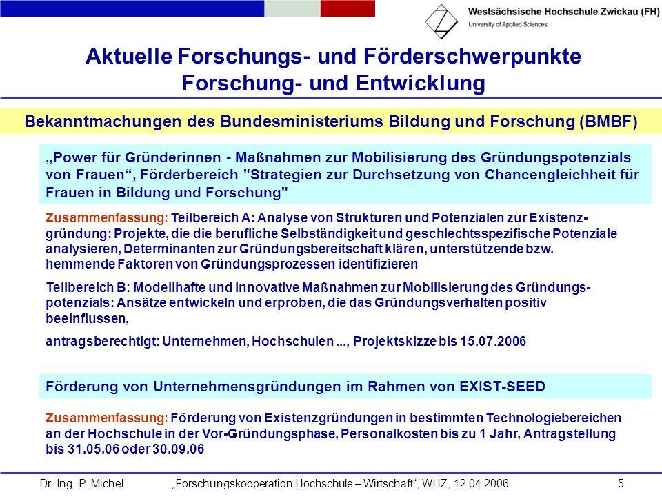 Dr.-Ing. P. Michel Forschungskooperation Hochschule – Wirtschaft, WHZ, 12.04.20065 Aktuelle Forschungs- und Förderschwerpunkte Forschung- und Entwickl