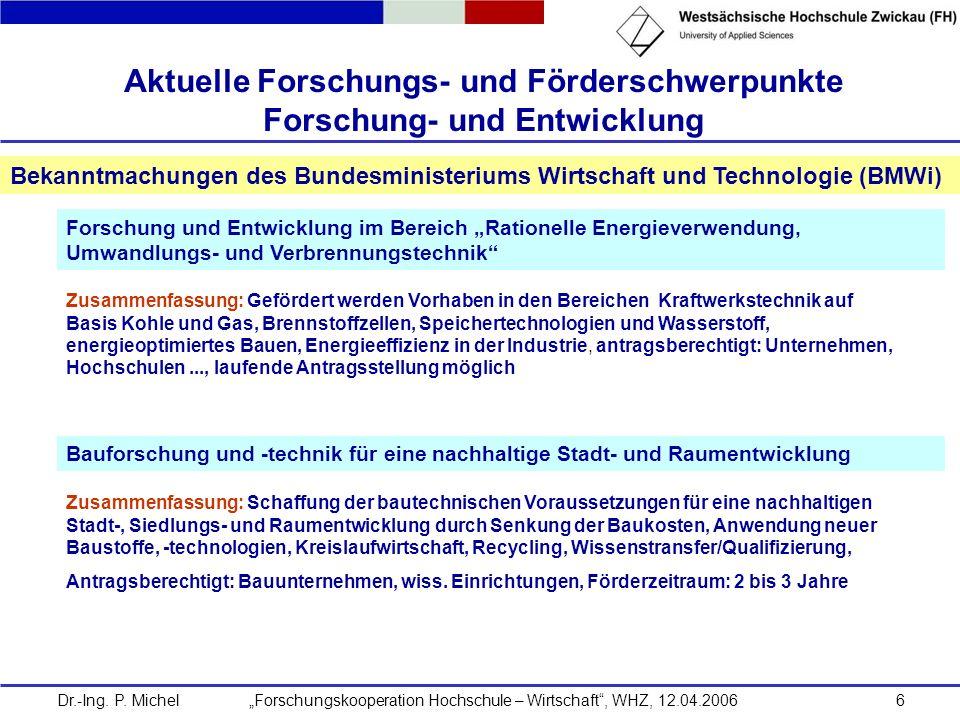 Dr.-Ing. P. Michel Forschungskooperation Hochschule – Wirtschaft, WHZ, 12.04.20066 Aktuelle Forschungs- und Förderschwerpunkte Forschung- und Entwickl