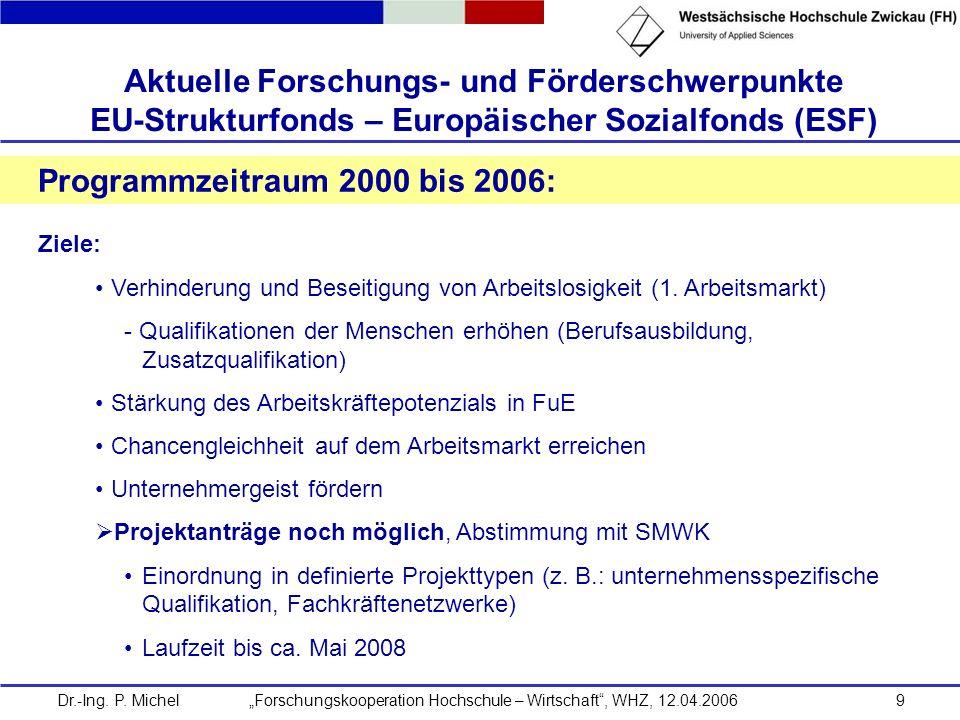 Dr.-Ing. P. Michel Forschungskooperation Hochschule – Wirtschaft, WHZ, 12.04.20069 Aktuelle Forschungs- und Förderschwerpunkte EU-Strukturfonds – Euro