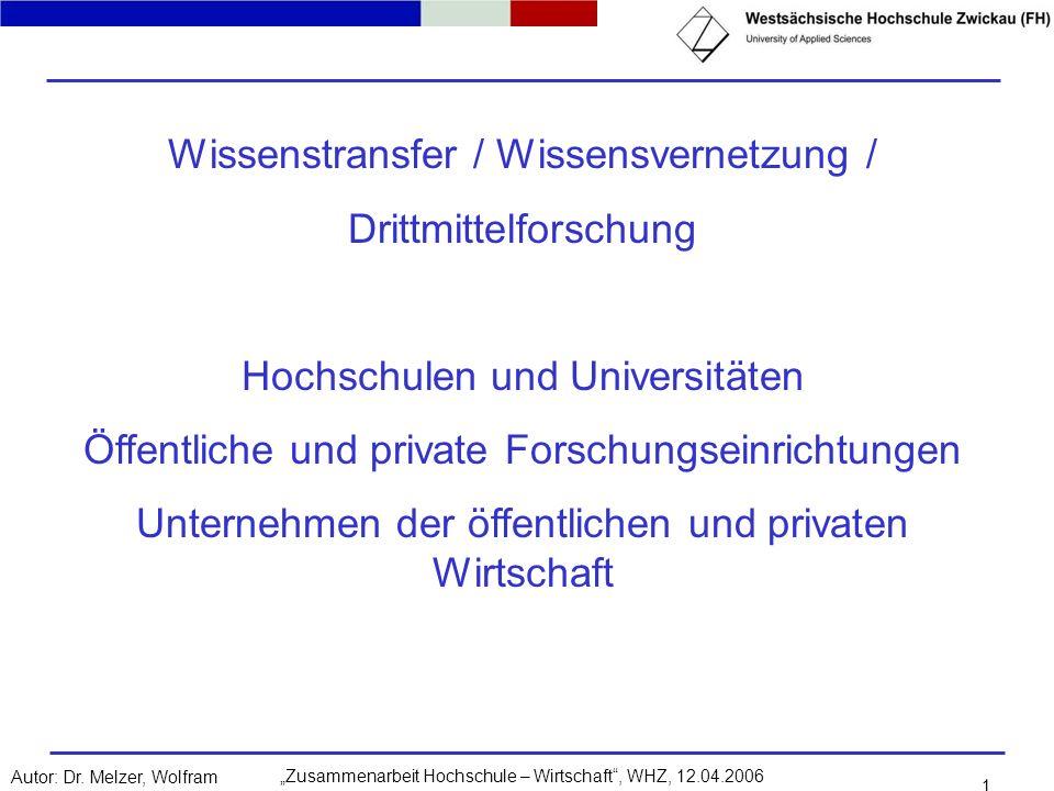 Zusammenarbeit Hochschule – Wirtschaft, WHZ, 12.04.2006Autor: Dr. Melzer, Wolfram 1 Wissenstransfer / Wissensvernetzung / Drittmittelforschung Hochsch