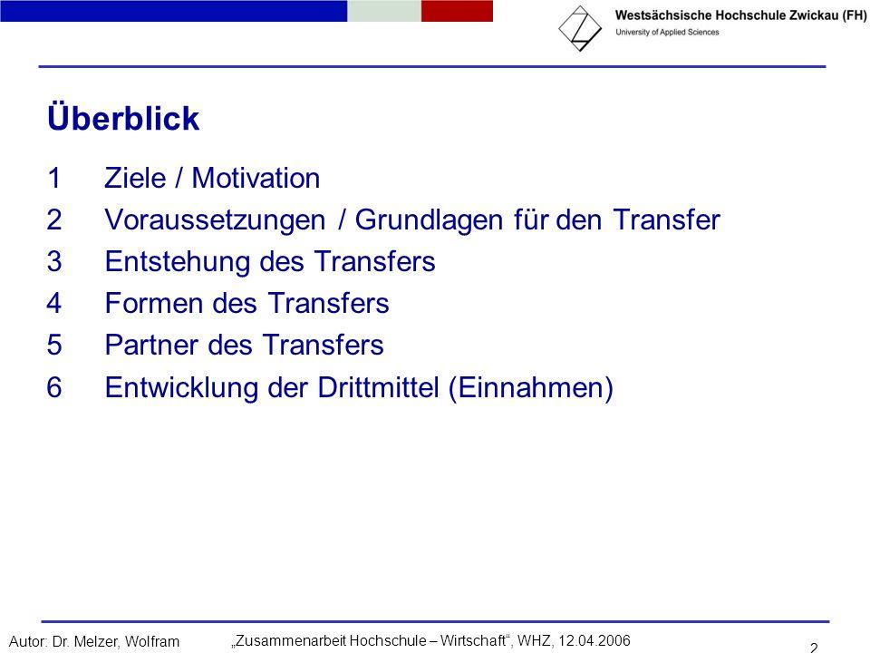 Zusammenarbeit Hochschule – Wirtschaft, WHZ, 12.04.2006Autor: Dr. Melzer, Wolfram 2 Überblick 1Ziele / Motivation 2Voraussetzungen / Grundlagen für de
