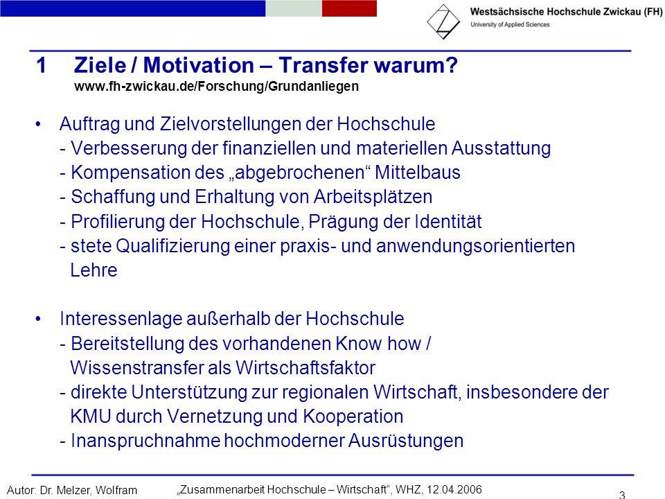 Zusammenarbeit Hochschule – Wirtschaft, WHZ, 12.04.2006Autor: Dr. Melzer, Wolfram 3 1Ziele / Motivation – Transfer warum? www.fh-zwickau.de/Forschung/