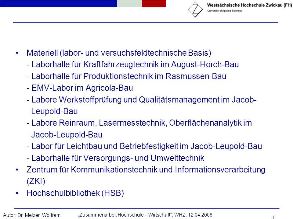 Zusammenarbeit Hochschule – Wirtschaft, WHZ, 12.04.2006Autor: Dr. Melzer, Wolfram 5 Materiell (labor- und versuchsfeldtechnische Basis) - Laborhalle f