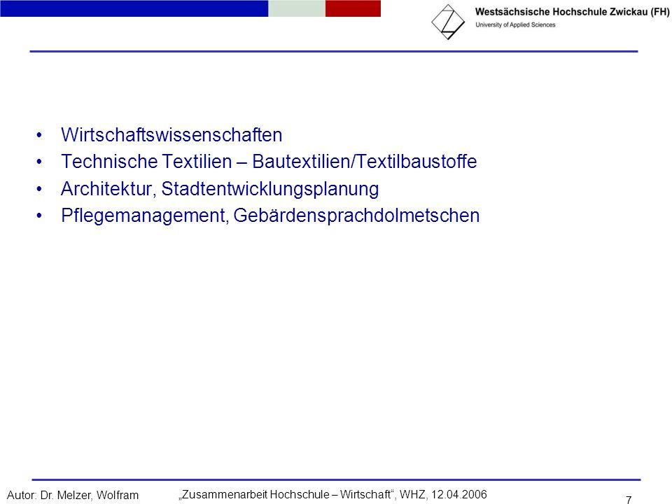 Zusammenarbeit Hochschule – Wirtschaft, WHZ, 12.04.2006Autor: Dr. Melzer, Wolfram 7 Wirtschaftswissenschaften Technische Textilien – Bautextilien/Text