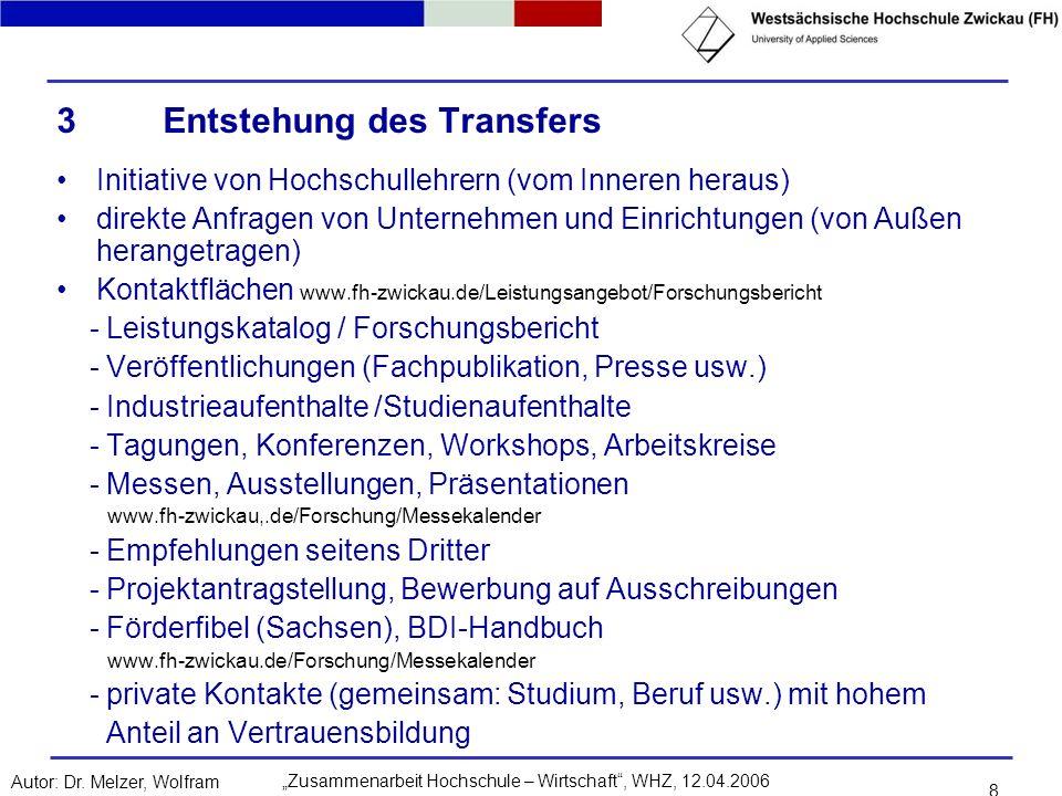 Zusammenarbeit Hochschule – Wirtschaft, WHZ, 12.04.2006Autor: Dr. Melzer, Wolfram 8 3Entstehung des Transfers Initiative von Hochschullehrern (vom Inn