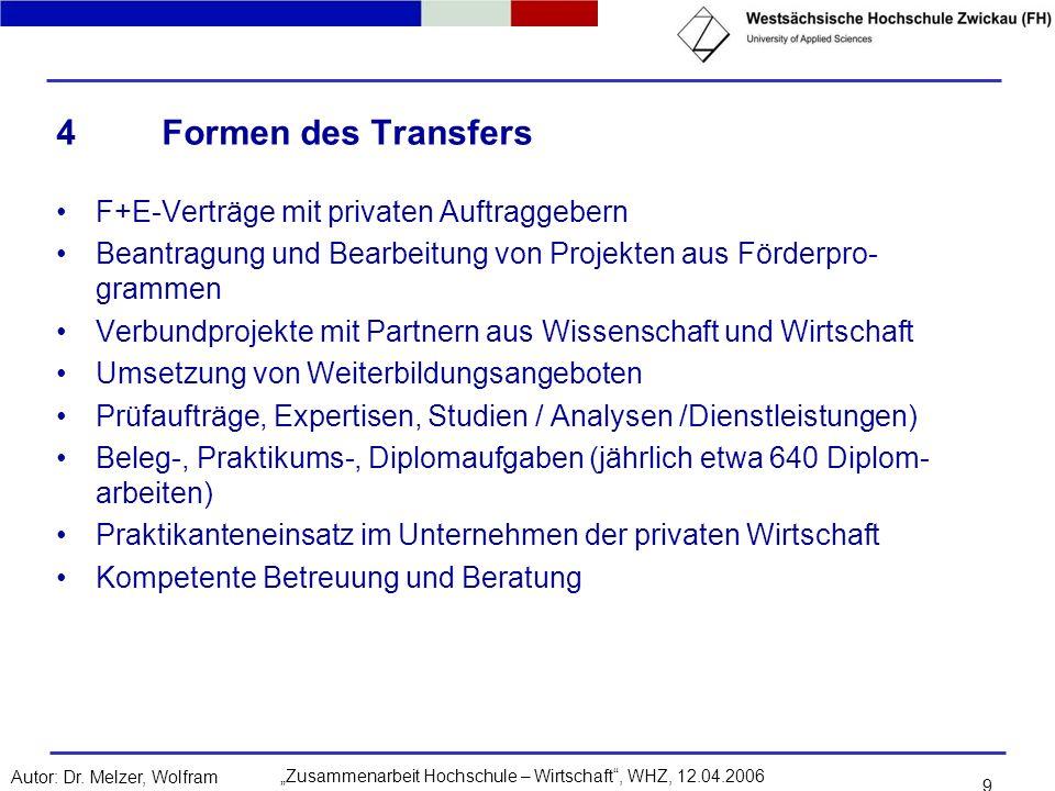 Zusammenarbeit Hochschule – Wirtschaft, WHZ, 12.04.2006Autor: Dr. Melzer, Wolfram 9 4Formen des Transfers F+E-Verträge mit privaten Auftraggebern Bean