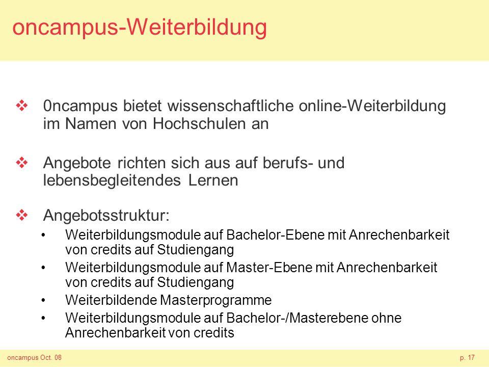oncampus Oct. 08p. 17 oncampus-Weiterbildung 0ncampus bietet wissenschaftliche online-Weiterbildung im Namen von Hochschulen an Angebote richten sich