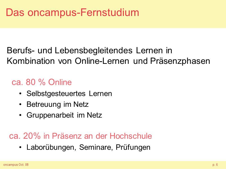 oncampus Oct. 08p. 6 Das oncampus-Fernstudium Berufs- und Lebensbegleitendes Lernen in Kombination von Online-Lernen und Präsenzphasen ca. 80 % O nlin