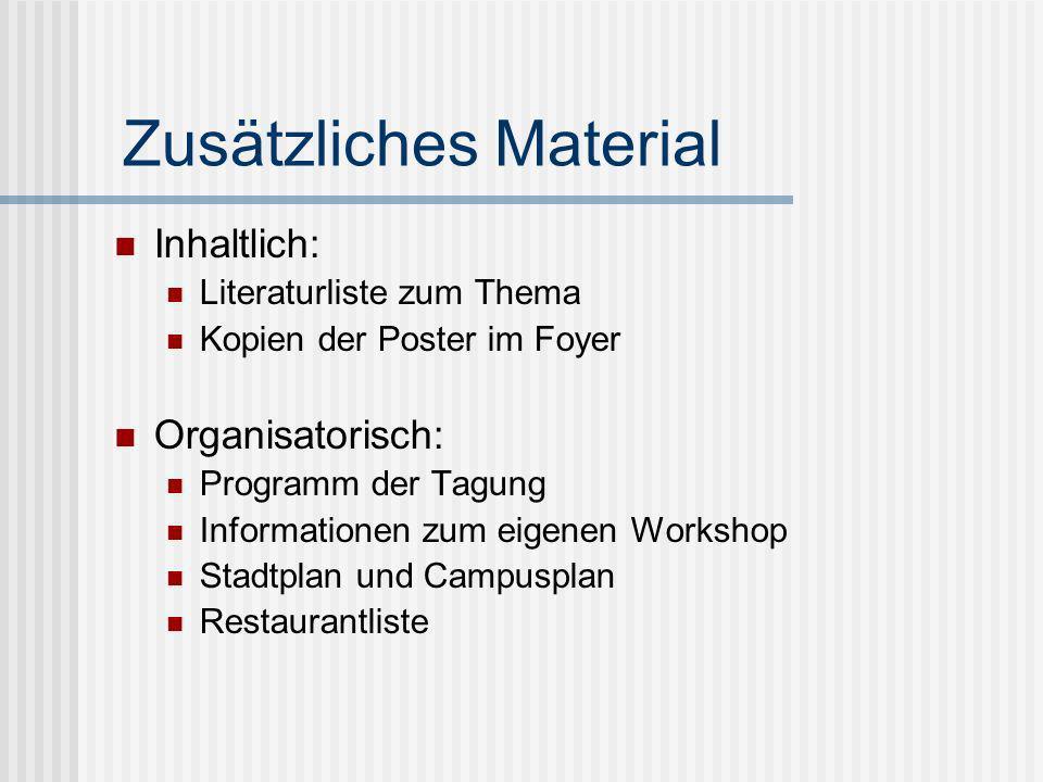 Zusätzliches Material Inhaltlich: Literaturliste zum Thema Kopien der Poster im Foyer Organisatorisch: Programm der Tagung Informationen zum eigenen W