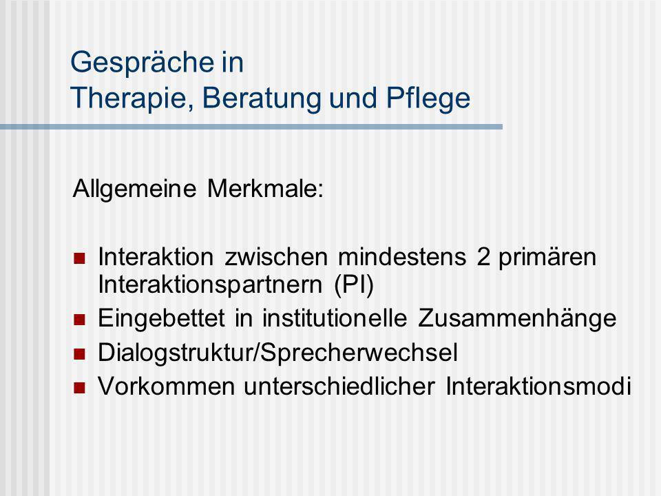 Gespräche in Therapie, Beratung und Pflege Allgemeine Merkmale: Interaktion zwischen mindestens 2 primären Interaktionspartnern (PI) Eingebettet in in