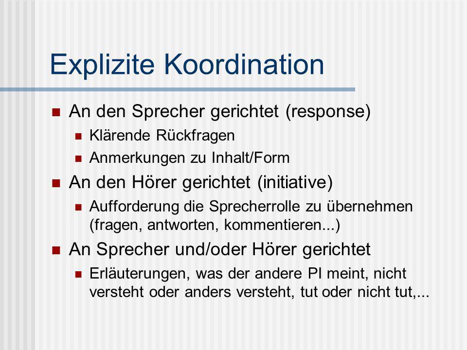 Explizite Koordination An den Sprecher gerichtet (response) Klärende Rückfragen Anmerkungen zu Inhalt/Form An den Hörer gerichtet (initiative) Aufford