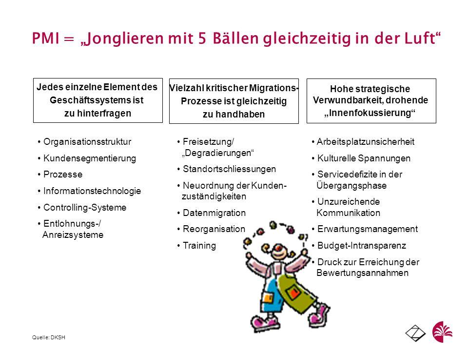 PMI = Jonglieren mit 5 Bällen gleichzeitig in der Luft Jedes einzelne Element des Geschäftssystems ist zu hinterfragen Vielzahl kritischer Migrations-