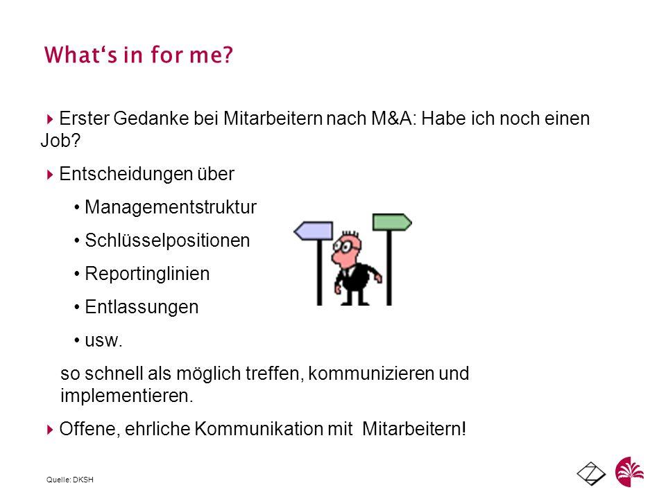 Whats in for me? Erster Gedanke bei Mitarbeitern nach M&A: Habe ich noch einen Job? Entscheidungen über Managementstruktur Schlüsselpositionen Reporti