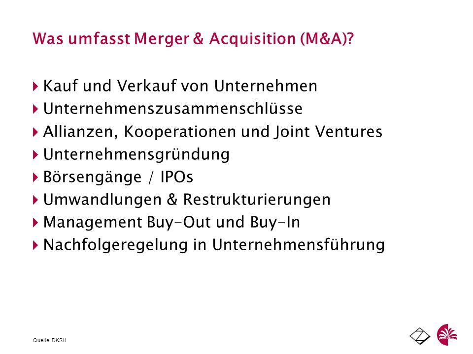 Was umfasst Merger & Acquisition (M&A)? Kauf und Verkauf von Unternehmen Unternehmenszusammenschlüsse Allianzen, Kooperationen und Joint Ventures Unte