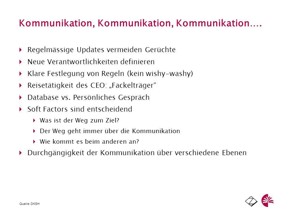 Kommunikation, Kommunikation, Kommunikation…. Regelmässige Updates vermeiden Gerüchte Neue Verantwortlichkeiten definieren Klare Festlegung von Regeln
