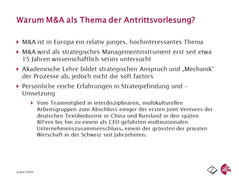 Bandbreite von M&A Fällen Dilettanten & Trittbrettfahrer Exzesse Telecom Hunterstrategie der Swissair AOL/ Time Warner M&A als Management-Tool: wie mans richtig macht Wegkommen vom reinen Volumendenken (Mega-Merger) SOFT FACTORS FOCUS M & A als strategisches Managementtool Quelle: DKSH