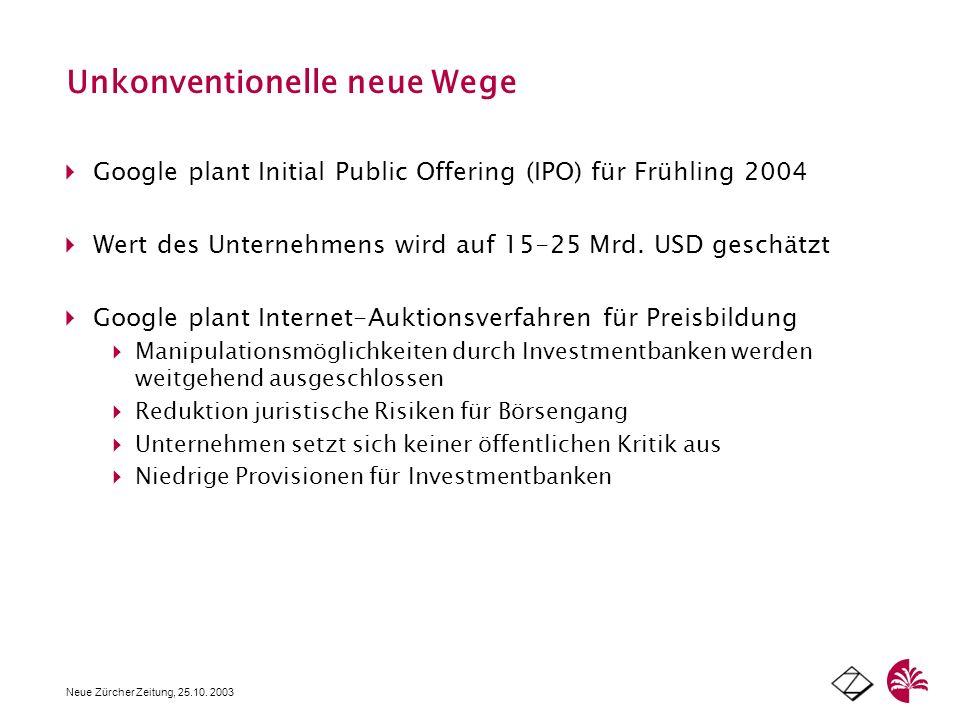 Unkonventionelle neue Wege Neue Zürcher Zeitung, 25.10. 2003 Google plant Initial Public Offering (IPO) für Frühling 2004 Wert des Unternehmens wird a