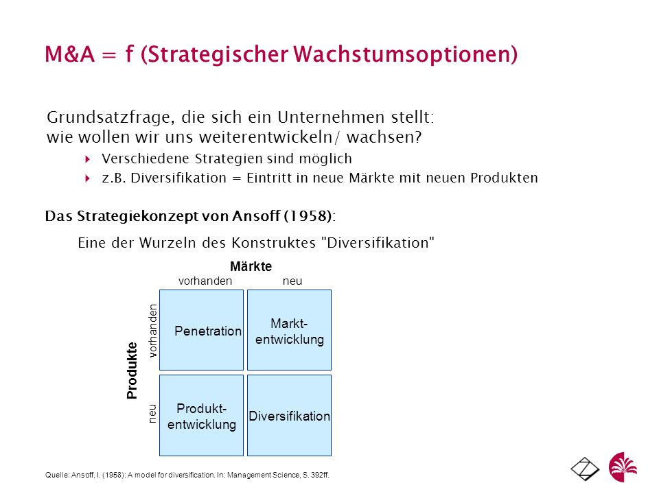 M&A = f (Strategischer Wachstumsoptionen) Grundsatzfrage, die sich ein Unternehmen stellt: wie wollen wir uns weiterentwickeln/ wachsen? Verschiedene