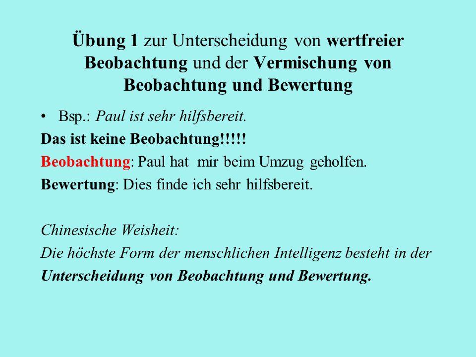 Übung 1 zur Unterscheidung von wertfreier Beobachtung und der Vermischung von Beobachtung und Bewertung Bsp.: Paul ist sehr hilfsbereit. Das ist keine
