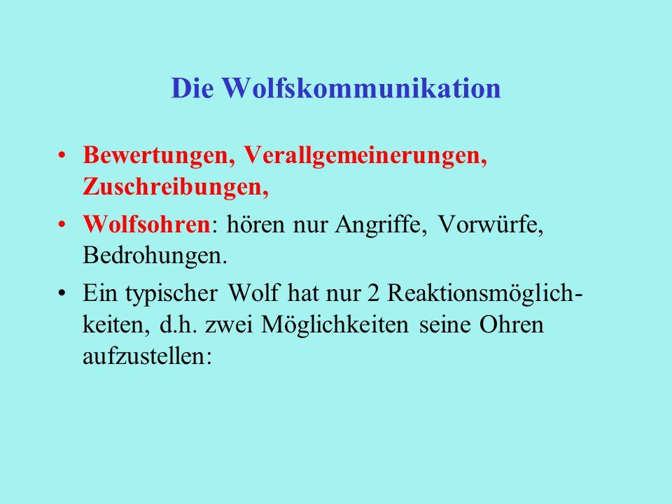Die Wolfskommunikation Bewertungen, Verallgemeinerungen, Zuschreibungen, Wolfsohren: hören nur Angriffe, Vorwürfe, Bedrohungen. Ein typischer Wolf hat