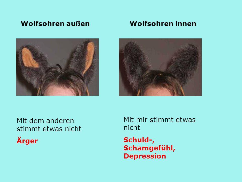 Mit dem anderen stimmt etwas nicht Ärger Wolfsohren außen Mit mir stimmt etwas nicht Schuld-, Schamgefühl, Depression Wolfsohren innen
