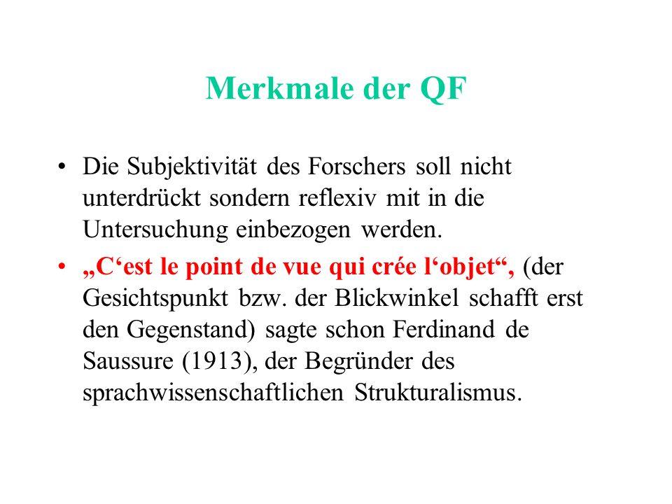 Merkmale der QF Die Subjektivität des Forschers soll nicht unterdrückt sondern reflexiv mit in die Untersuchung einbezogen werden.