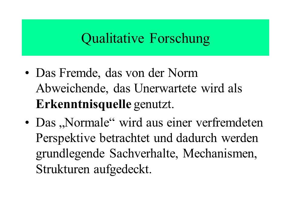 Qualitative Forschung Das Fremde, das von der Norm Abweichende, das Unerwartete wird als Erkenntnisquelle genutzt.