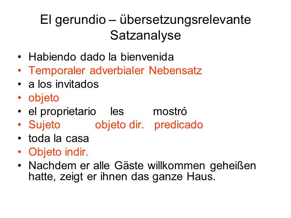 El gerundio – übersetzungsrelevante Satzanalyse Habiendo dado la bienvenida Temporaler adverbialer Nebensatz a los invitados objeto el proprietario le