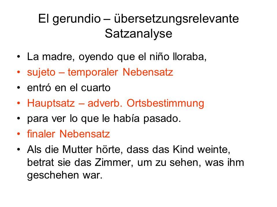 La madre, oyendo que el niño lloraba, sujeto – temporaler Nebensatz entró en el cuarto Hauptsatz – adverb. Ortsbestimmung para ver lo que le había pas