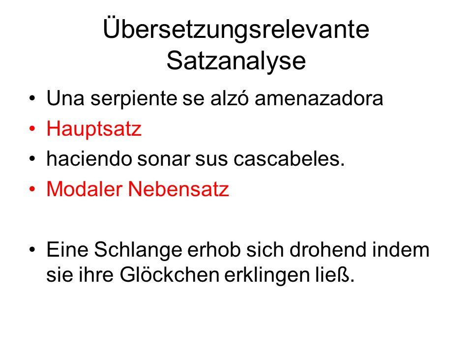 Übersetzungsrelevante Satzanalyse Una serpiente se alzó amenazadora Hauptsatz haciendo sonar sus cascabeles.