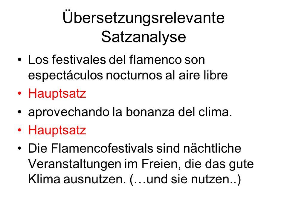 Übersetzungsrelevante Satzanalyse Los festivales del flamenco son espectáculos nocturnos al aire libre Hauptsatz aprovechando la bonanza del clima. Ha