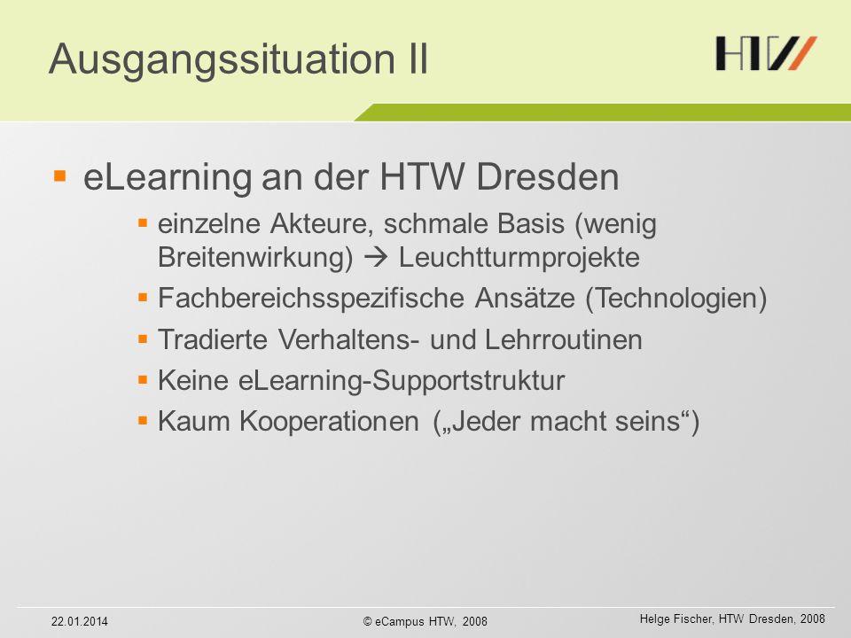 Helge Fischer, HTW Dresden, 2008 2009ff: Verstetigung Organisationsmodell für eLearning 22.01.2014© eCampus HTW, 2008