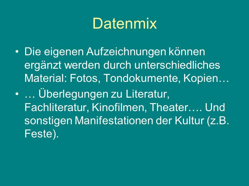 Datenmix Die eigenen Aufzeichnungen können ergänzt werden durch unterschiedliches Material: Fotos, Tondokumente, Kopien… … Überlegungen zu Literatur,