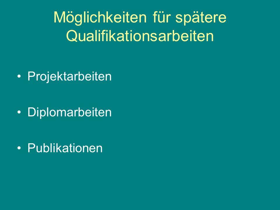 Möglichkeiten für spätere Qualifikationsarbeiten Projektarbeiten Diplomarbeiten Publikationen
