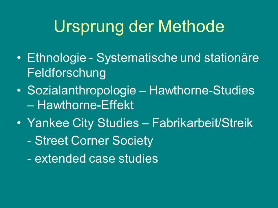 Ursprung der Methode Ethnologie - Systematische und stationäre Feldforschung Sozialanthropologie – Hawthorne-Studies – Hawthorne-Effekt Yankee City St