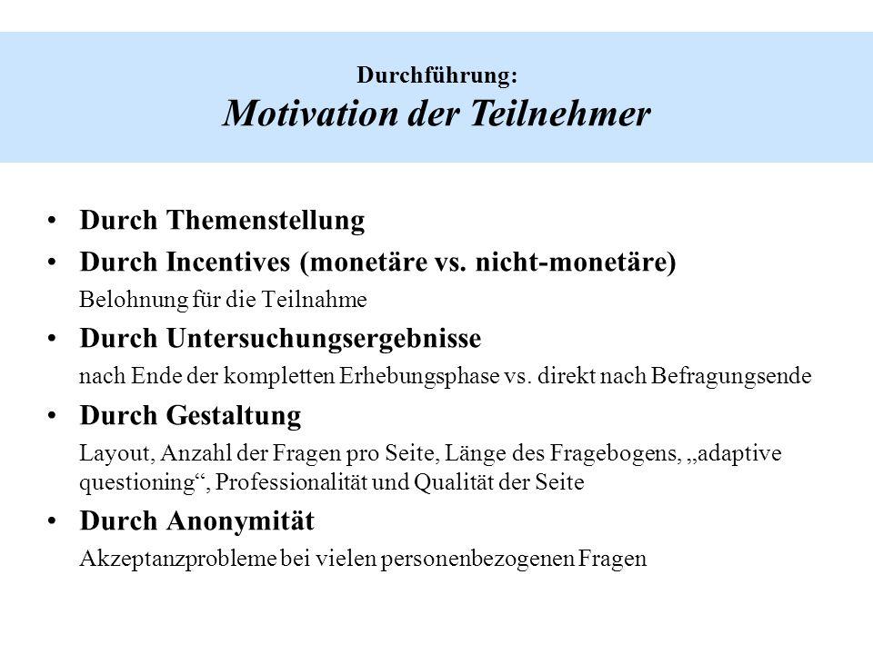 Durchführung: Motivation der Teilnehmer Durch Themenstellung Durch Incentives (monetäre vs. nicht-monetäre) Belohnung für die Teilnahme Durch Untersuc