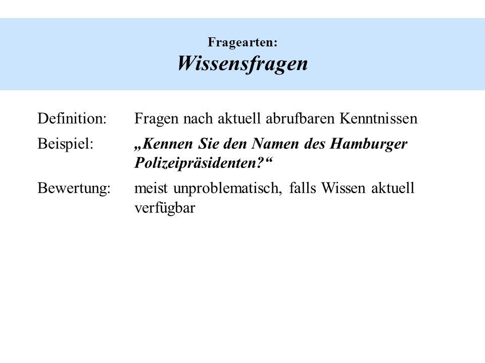 Fragearten: Wissensfragen Definition:Fragen nach aktuell abrufbaren Kenntnissen Beispiel:Kennen Sie den Namen des Hamburger Polizeipräsidenten? Bewert