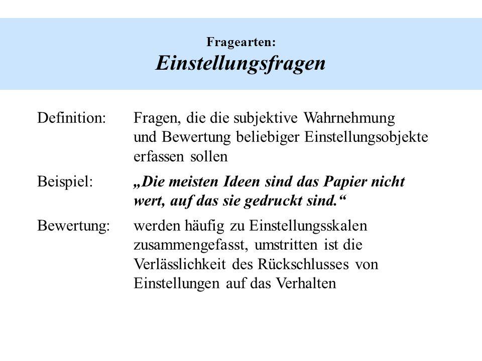 Hinweise zur Frageformulierung: Auswirkung des Kontextes auf die Frage Was halten Sie ganz allgemein von der CDU.